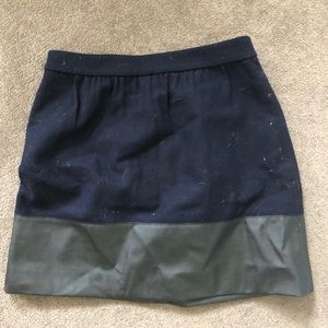 J.Crew navy and leather new skirt size 4